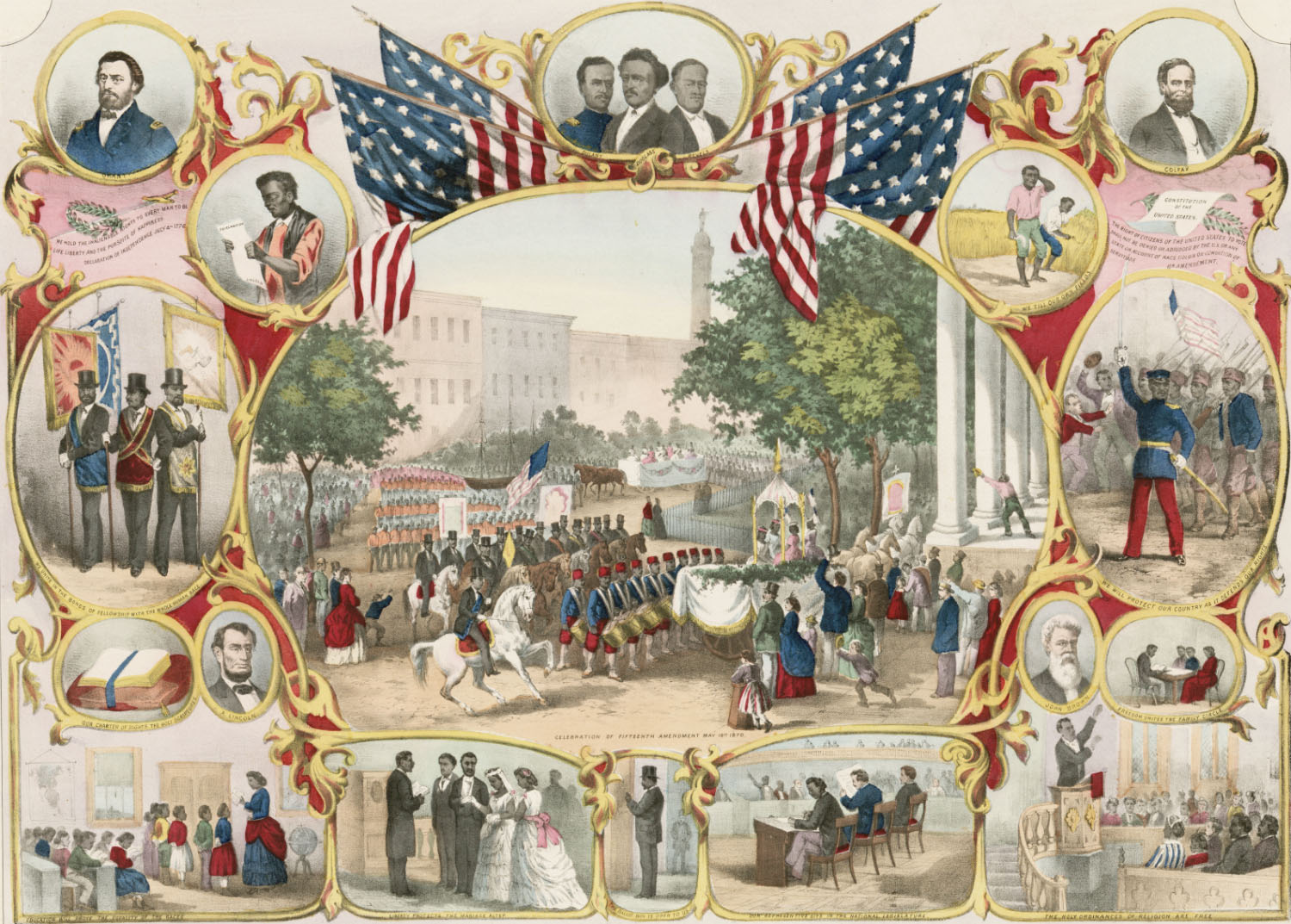 Photo: The Fifteenth Amendment. Celebrated May 19, 1870. Pub. by Thomas Kelly, New York, c. 1871, showing the grand celebratory parade in Baltimore. A similar parade in New York City on April 8, 1870 drew over 1,500 spectators and over 7,000 participants. Library of Congress, Prints & Photographs Division, LC-DIG-pga-01767